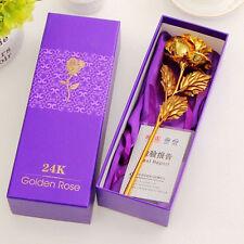 Confezione regalo da sposa in oro 24Kcon fiore a stelo lungo Rosa intinto in oro