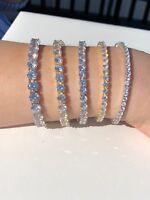 Men's Women's Tennis Bracelet SOLID 925 Sterling Silver ITALY Single Row Diamond