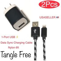 2 Pcs Wall Charger Adapter+USB Data Sync Charging Cable Cord For iPhone 7 8 XR.