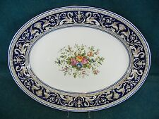 "Wedgwood Florentine Dark Blue with Floral W1079 Oval 15 1/4"" Serving Platter"