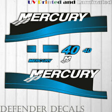 Mercury 40 HP Two Stroke outboard engine decal sticker BLUE Set reproduction