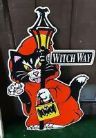Vintage '90s Halloween Black Cat Bat Witch Way Yard Sign Decoration LampPost Bat