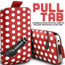 LEATHER POLKA & ZEBRA PULL TAB CASE POUCH + CAR CHARGER FOR VARIOUS MOBILEPHONES
