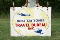 Vintage Wood Airplane World Travel Sign Double Sided Ship Boat with brackets old