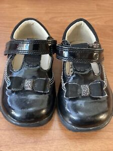 Clarks Girls Black Patent Bow Shoes Light Up Size 4H