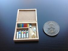 Dollhouse Miniature 3cm Water Painting Art Kit Wood Case w/ Tools Decor S1:12