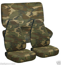 1976-1995 Jeep Wrangler CJ YJ Camo 31 Brown & Green Seat Covers Front & Rear Set
