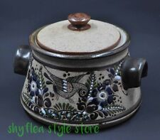 Netzi Pottery Bird Lidded Individual Soup Bowl or Small Bean Pot or Sugar Bowl