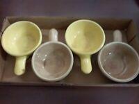 4 McCoy Heinz Soup Bowl Crock with handle 2 Yellow 2 Tan Vintage