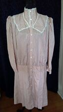 Retro ANTHEA CRAWFORD dress dropped waist high neck 1900's style pleats lace 12