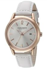 Akribos XXIV  1 Women's Classic Rose Gold-Tone and White Leather Watch AK921WT