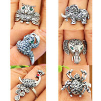 Wholesale Lot 10 pcs Design Mixed Rings Owl Frog Peacock Elephant Spider Jewelry