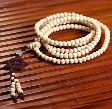 216pc White Tibetan Buddhist 6mm Sandalwood Prayer Beads Mala bracelet necklace