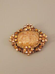 JULIANA D&E Vintage Brooch Glass Clear Crystal Gold Tone