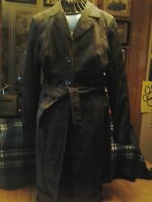 BEBE FITTED SUEDE LEATHER FULL LENGTH COAT-FULLY LINED-OLIVE GREEN-SIZE SMALL