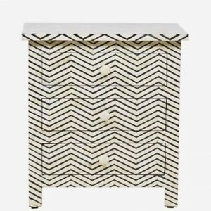 MADE TO ORDER Bone Inlay Indian Handicraft Bedside Cabinet Table Black ZigZag