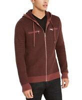INC Mens Sweater Brown Size Large L Hooded Front Zip Textured Knit $69 #086