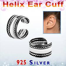 Ohrring Klemmer helix ear cuff Fake Piercing kein Ohrloch Silber 925 Kordelrand