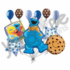 11 pc Cookie Monster Happy Birthday Balloon Bouquet Decoration Sesame Street