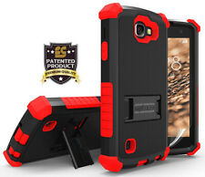 RED RUGGED TRI-SHIELD HARD CASE COVER STAND FOR LG OPTIMUS ZONE-3 / K4 / SPREE