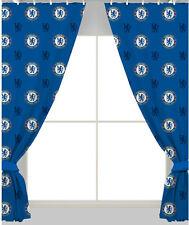 "Oficial Fútbol dormitorio de Niños club cresta cortinas 66"" ancho X 183-137cm Chelsea FC o CFC azules 137cm (rpt)"