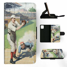 APPLE iPHONE FLIP LEATHER CASE WALLET COVER|BASEBALL SPORTS DRAWING