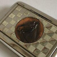 Vintage Chrome Tobacco Box Cigarettes With Copper Horse Head Plaque Collectable