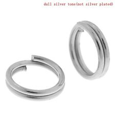 800 PCs Silver Tone Double Loops Open Jump Rings 6mm Dia. Findings SP0080