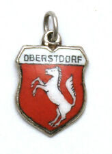 Oberstdorf Germany Enamel Travel Shield Vintage 800 Silver Bracelet Charm