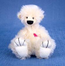 "Deb Canham "" Flump Where"" Cream Mohair Miniature Bear 3 3/4"" Jointed -Red Heart"