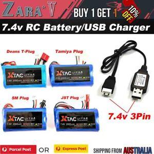 7.4v 2000mAH 2S Li-ion Battery Deans Plug JST Tamiya SM Charger RC CAR TRUCK TOY