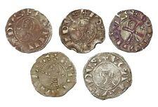 CRUSADERS. Bohemond III and Bohemond IV, Silver Denier, 1163-1232 AD, Lot of 5