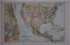 1910 MAPPA ORIGINALE Stati Uniti Messico America Centrale Indie Occidentali New York