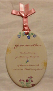 GRANDMOTHER,KIND AND LOVING YOU'LL ALWAYS BE... LOVING SENTIMENT CERAMIC PLAQUE