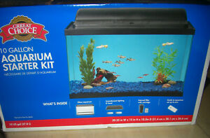 Fish Tank GRREAT CHOICE 10 Gallon Aquarium Starter Kit + Rocks, Heater, Filters