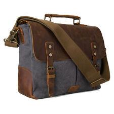 ce969d9383f97 Leinwand Leder Herren 14  Laptop Aktentasche Messenger Schultertasche  Handtasche