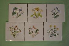 """Ceramic 6 pc """"FlOwering Herbs"""" on 4-1/4"""" wall tile $2.45 15 set left"""