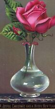 Victorian 1880's Embossed Christmas New Year Greeting Card Rose in Vase LARGE