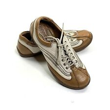 BORN W11035 Women's Brown Silver White Leather Lace Up Fashion Sneakers Sz 6.5