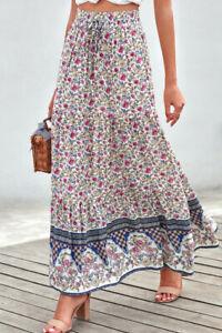 Blue Ditsy Floral Print Boho Ruffle Tiered Elastic Maxi Skirt SMALL 4-6
