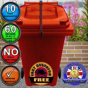 Wheelie Bin Lid Lock Strap, NO DRILLING, Keep Lid Shut in Strong Winds-in RED