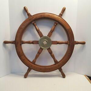 "26"" Vintage Boat Ship Steering Wheel Brass Wooden Décor Nautical Wall Hanger"