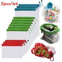 5pcs/lot Reusable Mesh Fruit Bag Drawstring Grocery Fruit Storage Shopping Bags