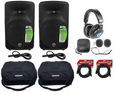 "(2) New Mackie SRM350-V3 10"" Powered Speakers+Travel Bags+Headphones+Cables"