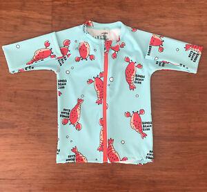 Bonds Baby Boy Blue Lobster Rashie Zip Swimsuit Size 2 BNWT