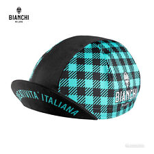 Bianchi Milano NEON Classic Cycling Cap : BLACK/CELESTE PLAID - MADE IN iTALY