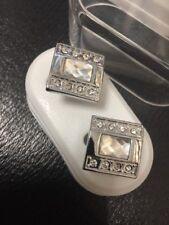 New Silver & Clear Crystals Men's Ladies Luxury Cufflinks Gift Boxed Cufflinks