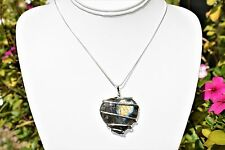 "CHARGED Wire Wrapped Labradorite Heart Pendant REIKI ENERGY + 20"" Silver Chain"