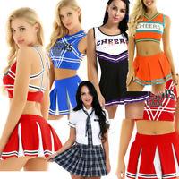 Women Cheer leader Dress Costume School Girl Top Skirt Fancy Uniform Cosplay