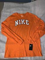 NWT Nike Men's The Nike Tee Athletic Cut Long Sleeve Orange T-Shirt  ~ Size XL